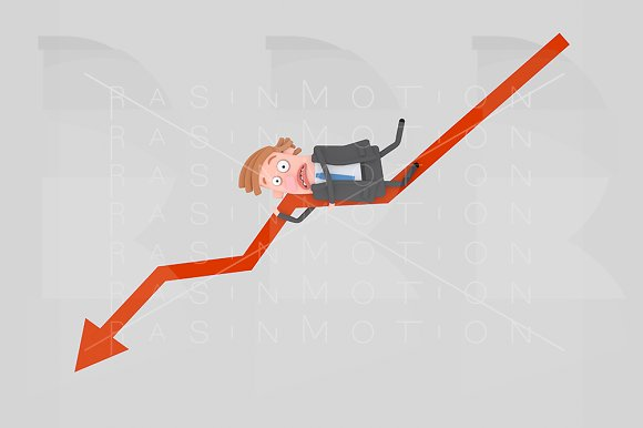 Worried Businessman Lying On A Graph