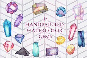 Handpainted Watercolor Gems