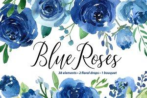 Blue Watercolor Roses Flowers Leaves