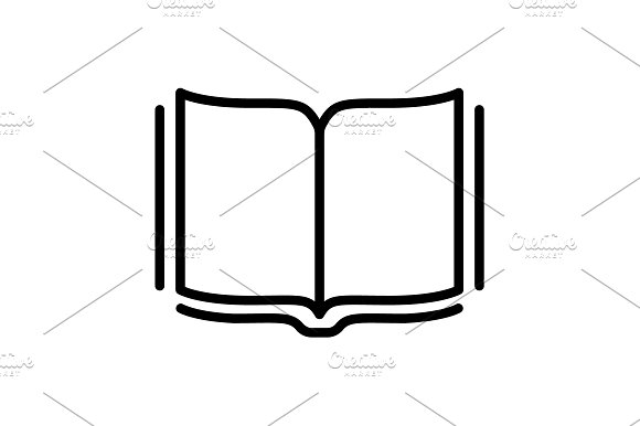Open Book Line Icon Vector