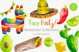 Watercolor Taco Mexican Food Clipart