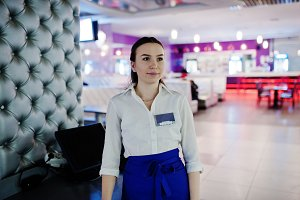 Waiter girl working