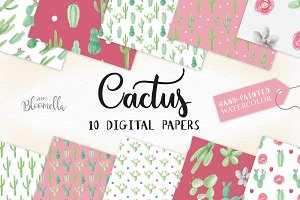 Cactus Watercolor Patterns Set