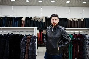store fur coats and leather jacket