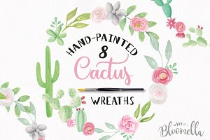 Cactus Watercolor Wreath Set