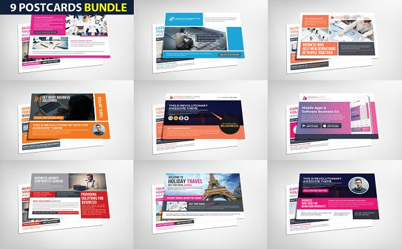 9 Business Postcards Bundle