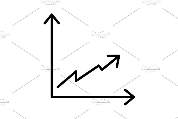 Flat Line Icon Of Graph Vector
