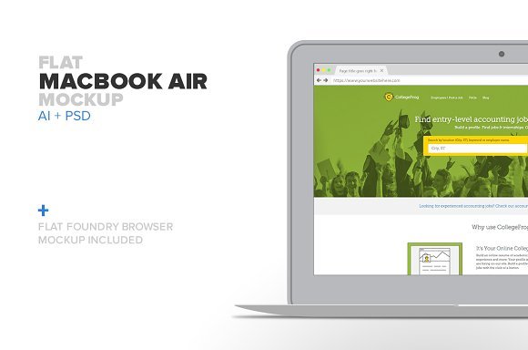 Download Flat Macbook Air Mockup