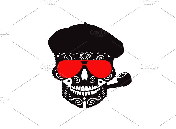 Skull Icon With Hat And Pipe