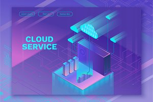 Cloud service 3d isometric set