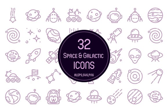 32 Space Galactic Icons