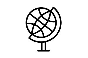 The globe line icon. vector