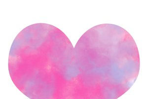Colorful pink and blue smoke watercolor in heart shape.