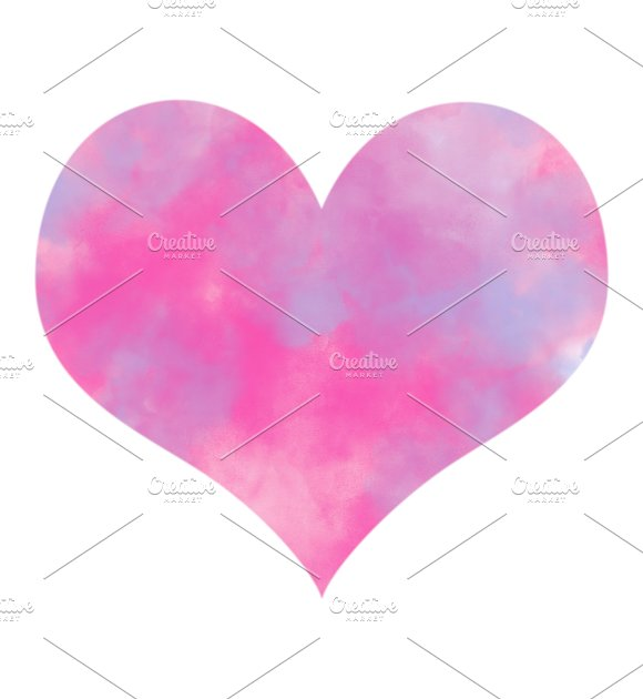 Colorful Pink And Blue Smoke Watercolor In Heart Shape