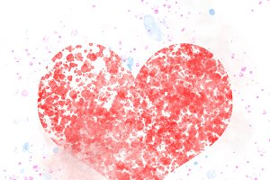 Splash watercolor red heart well use as Valentine background.