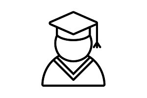 Graduation cap line icon. vector