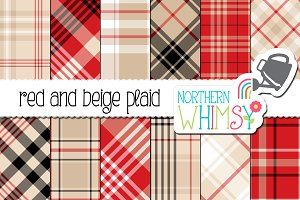 Beige and Red Plaid Patterns