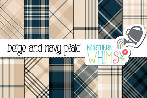 Navy and Beige Plaid Patterns