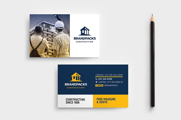 Construction business card template business card templates construction business card template friedricerecipe Gallery