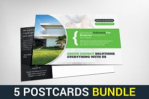 5 Company Postcard Psd Bundle