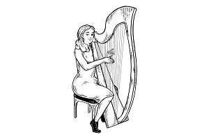 Girl plays on harp engraving vector