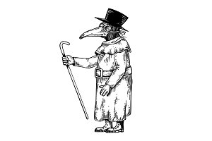 Plague doctor engraving vector illustration