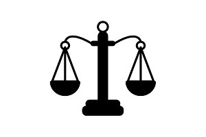 Pictograph of justice scales. vector