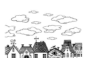 Old houses roof engraving vector illustration