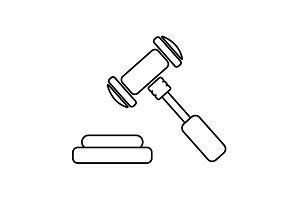 gavel line icon. vector illustration