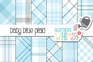 Pastel Blue Plaid Patterns