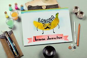 Watercolor banana