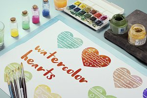 Watercolor hearts illustration