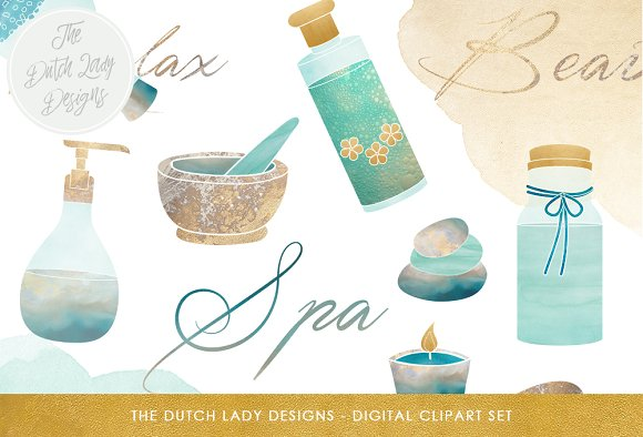 Spa Beauty Retreat Clipart Set