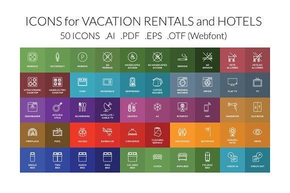 Vacation Rental Hotel Vector Icons Creative Market
