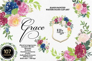 Watercolor flowers clip art