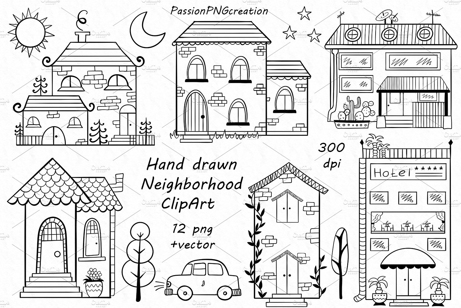 hand drawn neighbourhood Clipart ~ Illustrations