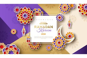Ramadan Frame with arabesque flowers