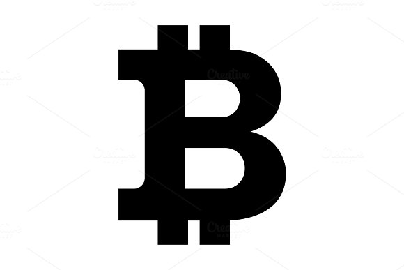 Bitcon Sign Icon Black