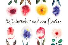 Watercolor Cartoon Flowers