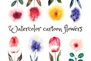 Watercolor Cartoon Flowers