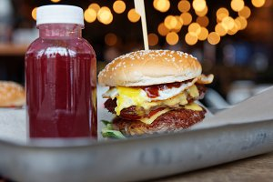 Burger and berry smoothie