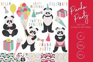 Panda Party Illustration & Patterns