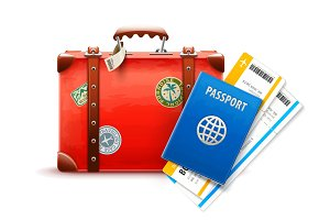 Retro suitcase, passport and airline