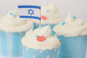 Blue, White, Israel Flag, Cupcake
