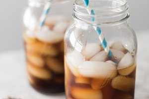 Iced Coffee in Mason Jars