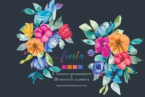 Hand Painted Colorful Fiesta Clipart