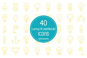 40 Lamp &Lightbulbs Icons