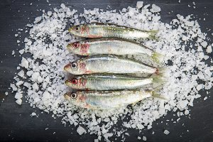 Fresh sardines on a coarse salt layer over a slate background
