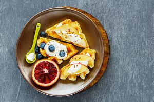 Belgian waffles with fruits