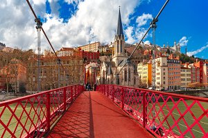 Saint Georges church and footbridge, Lyon, France